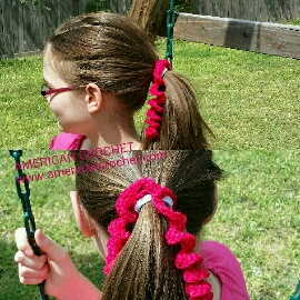 Crochet Curly Q Hair Ties : Curly Que Ponytail Ties American Crochet