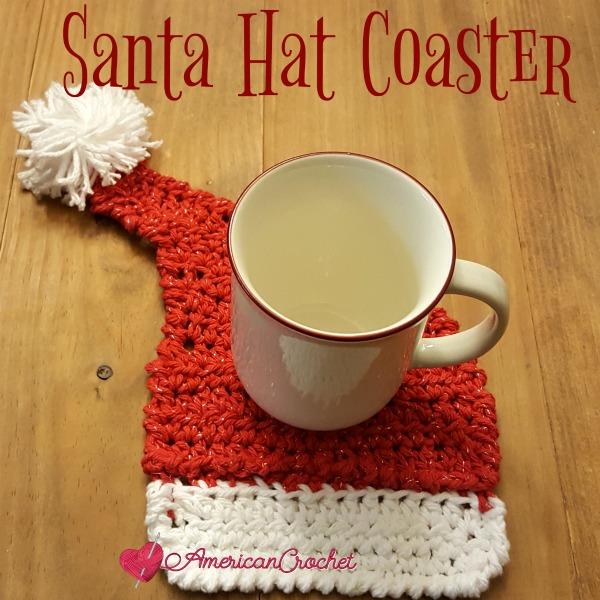 Free Crochet Santa Claus Coaster Pattern : Santa Hat Coaster American Crochet Free Pattern