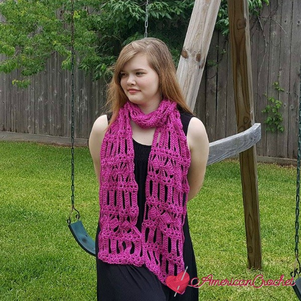 AC-Diamond Bars Scarf free crochet pattern